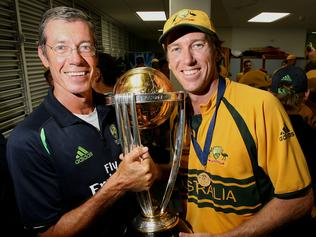 29 Apr 2007 World Cup. Cricket. Final. Aust vs Sri Lanka @ Kensington Oval, Barbados. Coach John Buchanan and Glenn McGrath with the cup. headshot smiling sport o/seas trophy