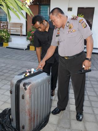 The suitcase where the body was found. Picture: AFP