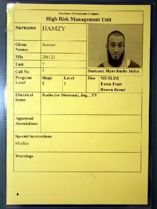 "Classified ""Extreme High Risk Restricted"" ... Bassam Hamzy's cell card."