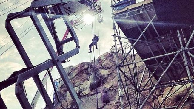 Long way down ... The Rock refuses to take the stairs on the set of San Andreas. Picture: Instagram