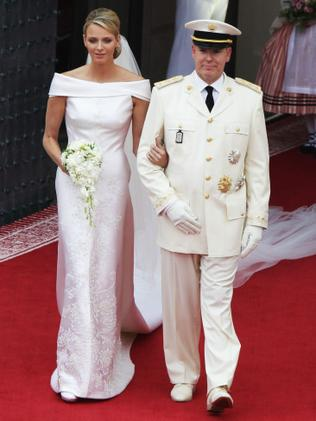 Princess Charlene of Monaco and Prince Albert II during their 2011 wedding. Photo: Getty