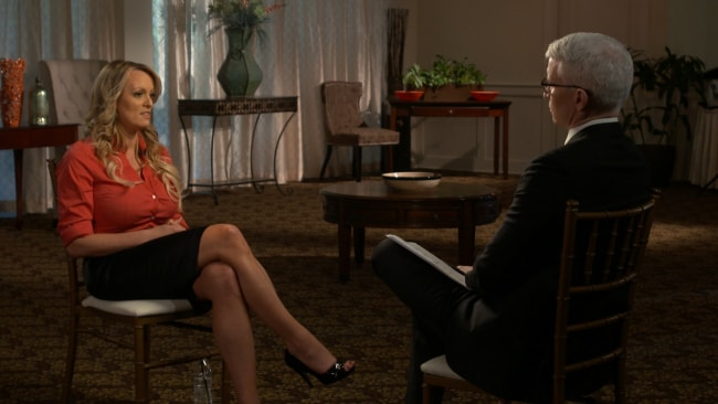 Stormy Daniels in her interview with Anderson Cooper. Image: Getty.
