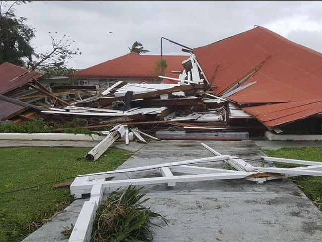 The remnants of the Tongan Parliament House, Nuku'alofa, destroyed by cyclone Gita. Picture: Nanise Fifita, Twitter