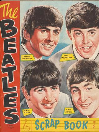 A Beatles scrapbook . licensed merchandise from 1964. Picture: Powerhouse Museum