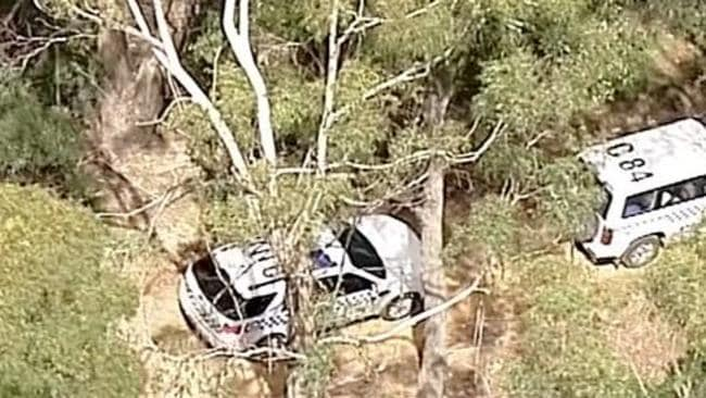 Police vehicles in dense bushland at Mount Macedon bushland, where a body was found. Picture: Supplied