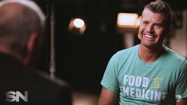 Food coach ... My Kitchen Rules judge Pete Evans and his wife Nicola Robinson coached Willessee through his paleo challenge. Picture: Channel 7