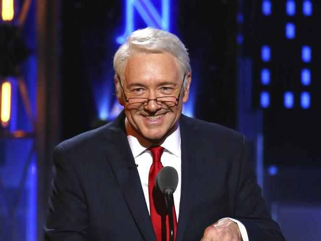 Kevin Spacey impersonates President Bill Clinton at the 71st annual Tony Awards. Picture: AP