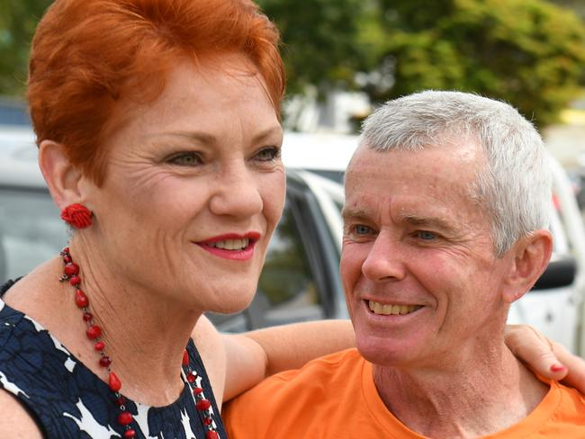 One Nation Leader Senator Pauline Hanson (left) and former Senator Malcolm Roberts visit a lighting factory in Salisbury, south of Brisbane, Thursday, November 23, 2017. Senator Hanson is on the campaign trail ahead of the Queensland state election. (AAP Image/Mick Tsikas) NO ARCHIVING