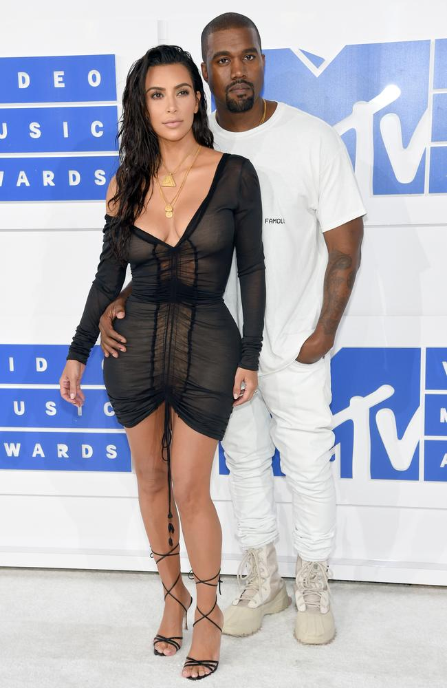 Kimye arrive at the VMAs, not surprisingly Kim's in next to nothing. Picture: Jamie McCarthy/Getty Images
