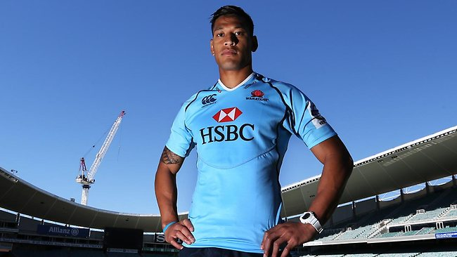 Israel Folau models his new NSW Waratahs kit. Picture: Phil Hillyard