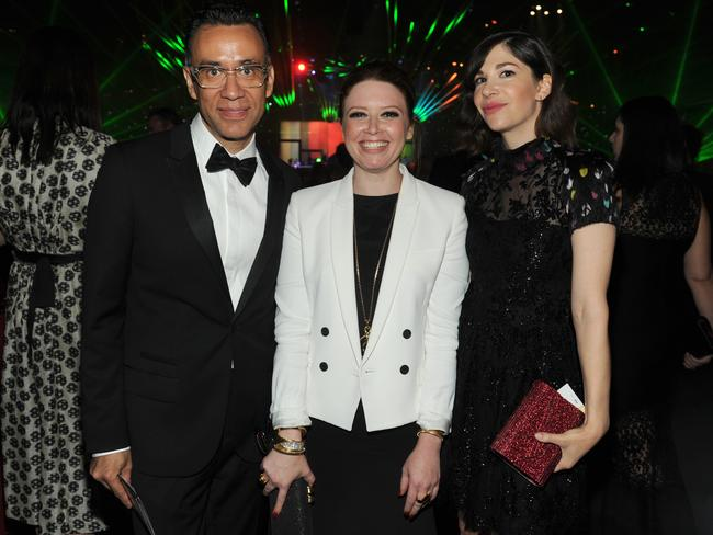 Together again ... Fred Armisen, Natasha Lyonne and Carrie Brownstein attend the Governors Ball at the Television Academy's Creative Arts Emmy Awards.