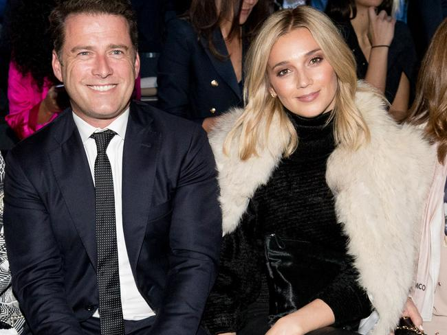 Karl Stefanovic and Jasmine Yarbrough at Mercedes-Benz Fashion Week in May. Picture: Cole Bennetts