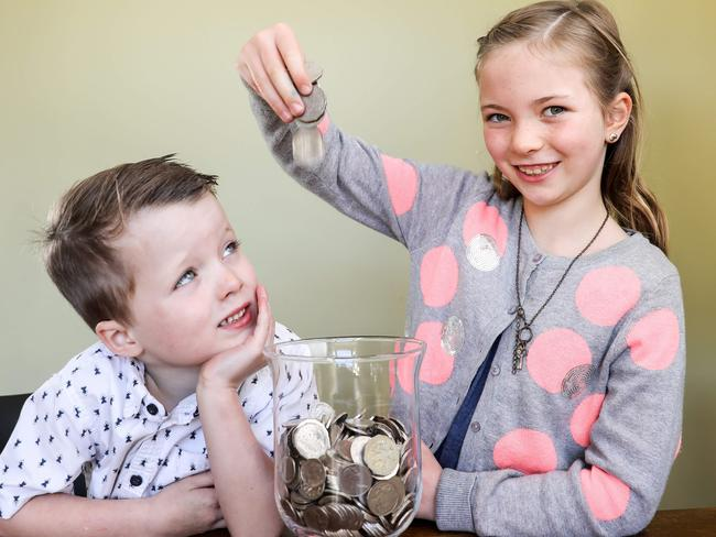 Amelia Farley, 7, saves more than little brother Lachie, 5. Picture: AAP/Russell Millard