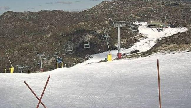 The summit of Mt Blue Cow (part of Perisher resort) yesterday before the snow started. The snow in the image is mostly manmade. Pic: Perisher.com.au