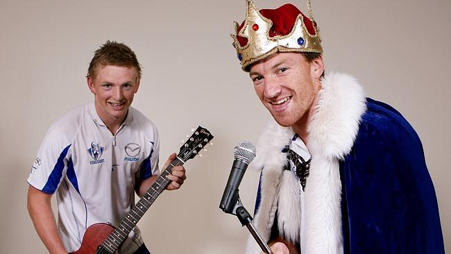 North Melbourne stars Jack Ziebell and Brent Harvey promote an exhibition in Ballarat. Picture: Ian Currie