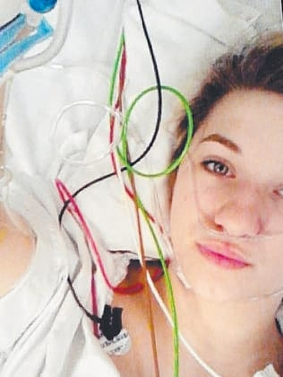 Anneliese Corletto posted this selfie of her receiving treatment in the RAH.