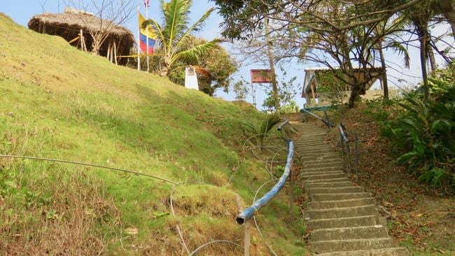 There was just a simple stairway and a small border post between the countries.  <i>Picture: Sally Watson</i>