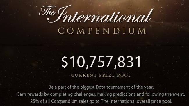 The prize money on offer for this year's DOTA 2 championships at the time of writing.