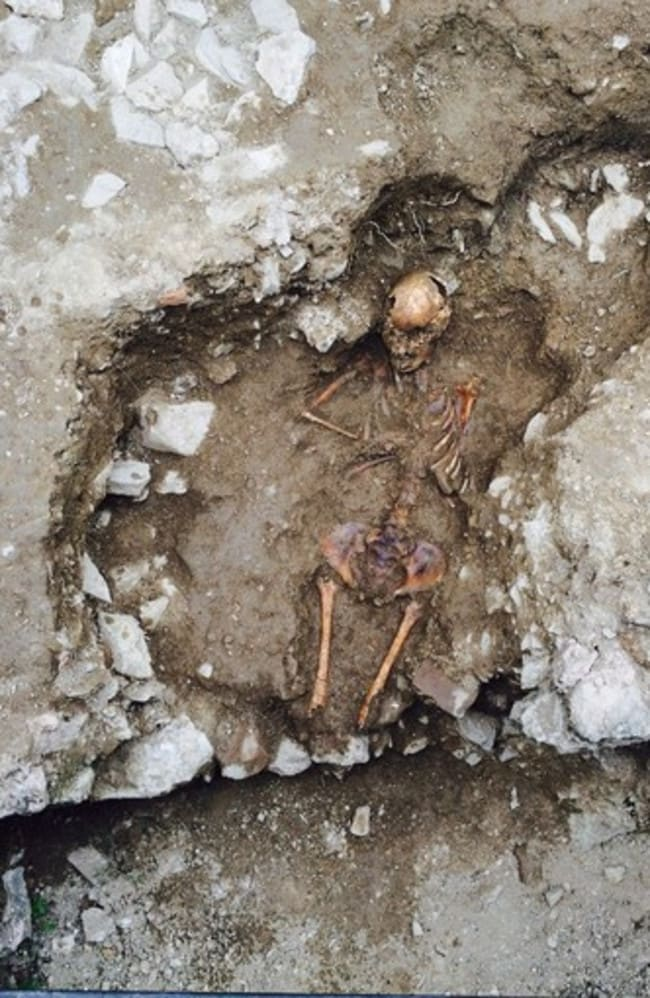 "Witch girl ... The burial site of an anemic 15-year-old girl found near a medieval monastery. Picture: Stefano Roascio/Elena Dellù/ <a href=""http://www.piac.it/"" target=""_blank"">Pontifical Institute of Archaeology </a>"