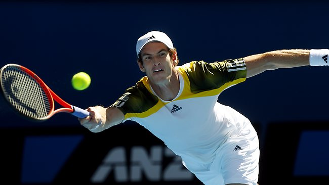 Andy Murray sweating it out at the Australian Open. Picture: Michael Klein