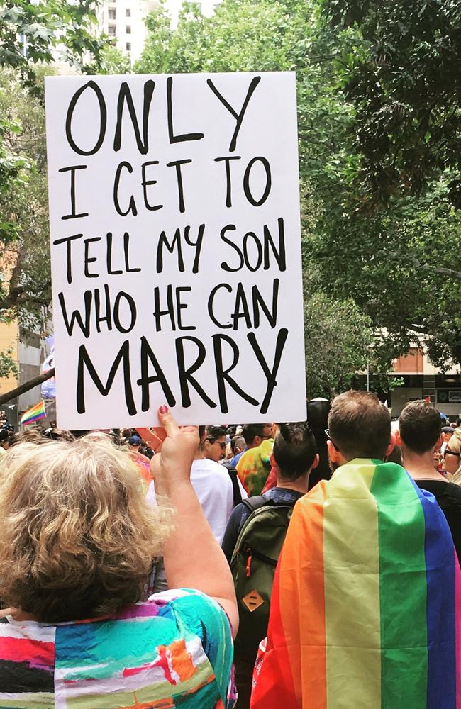 A same-sex marriage supporter in Sydney on Sydney. Picture: Benedict Brook