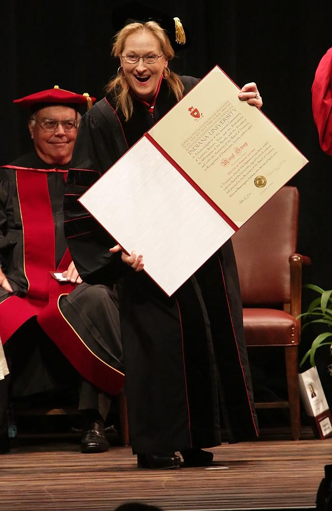 Academy Award winner, Meryl Streep, received a Conferral Honorary Degree from Indiana University.