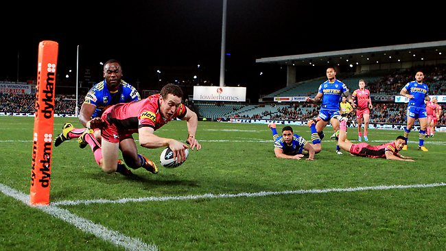 David Simmons scores the first of his two tries for the Panthers. Picture: Mark Evans