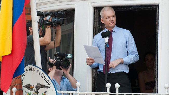 Wikileaks founder Julian Assange addresses the media and his supporters from the balcony of the Ecuadorian Embassy in London.