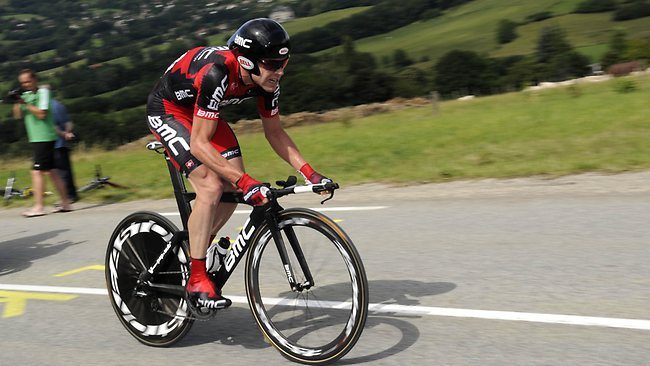 Australia's Cadel Evans competes in the 42,5 km individual time-trial and twentieth stage of the 2011 Tour de France cycling race run around Grenoble, southeastern France. Picture: Lionel Bonaventure / AFP