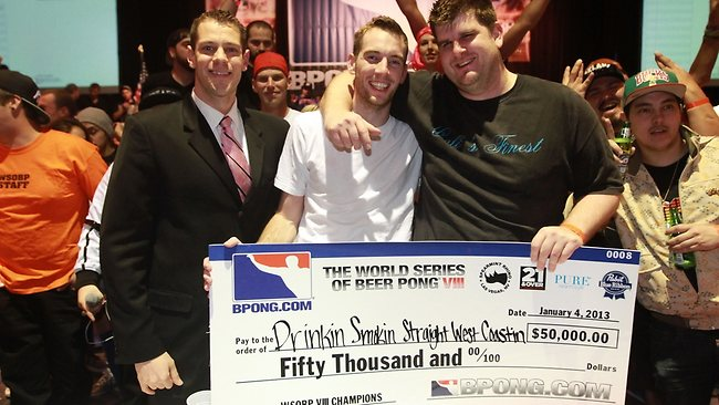 The winners of World Series Beer Pong are presented their cheque in Vegas. Picture: Courtest of Visit California