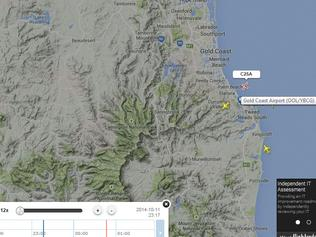 Flightradar image shows loop by Virgin Australia after being directed by Air Traffic Control not to land in order to avoid a departing Cessna.