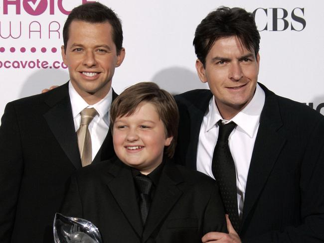 Former co-stars ... Two and a Half Men cast members from left, John Cryer, Angus T. Jones and Charlie Sheen in 2007. Picture: AP