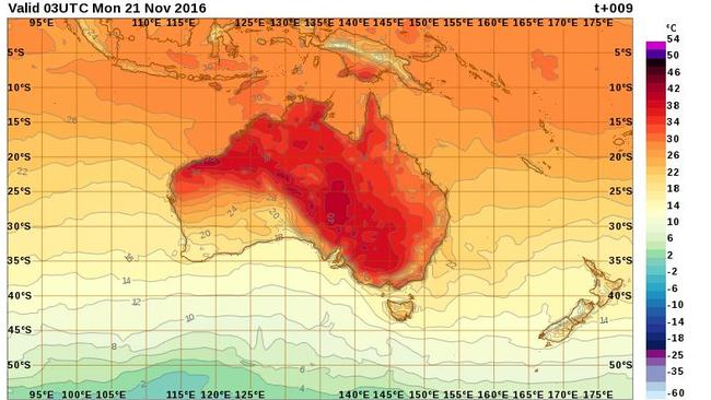 The Bureau of Meteorology graph for expected temperatures at 2pm on Monday shows a band of scorching temperatures heading through South Australia, the Northern Territory and Victoria.