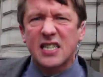 UK satirist Jonathan Pie outside the Australian High Commission in London