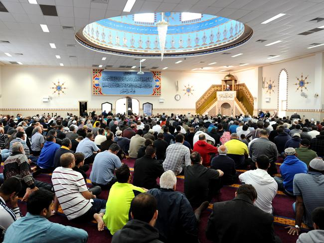 Muslims pictured at Friday prayer, led by Imam Yahya Safi, at Lakemba Mosque, in Sydney's west. Picture: Dan Himbrechts