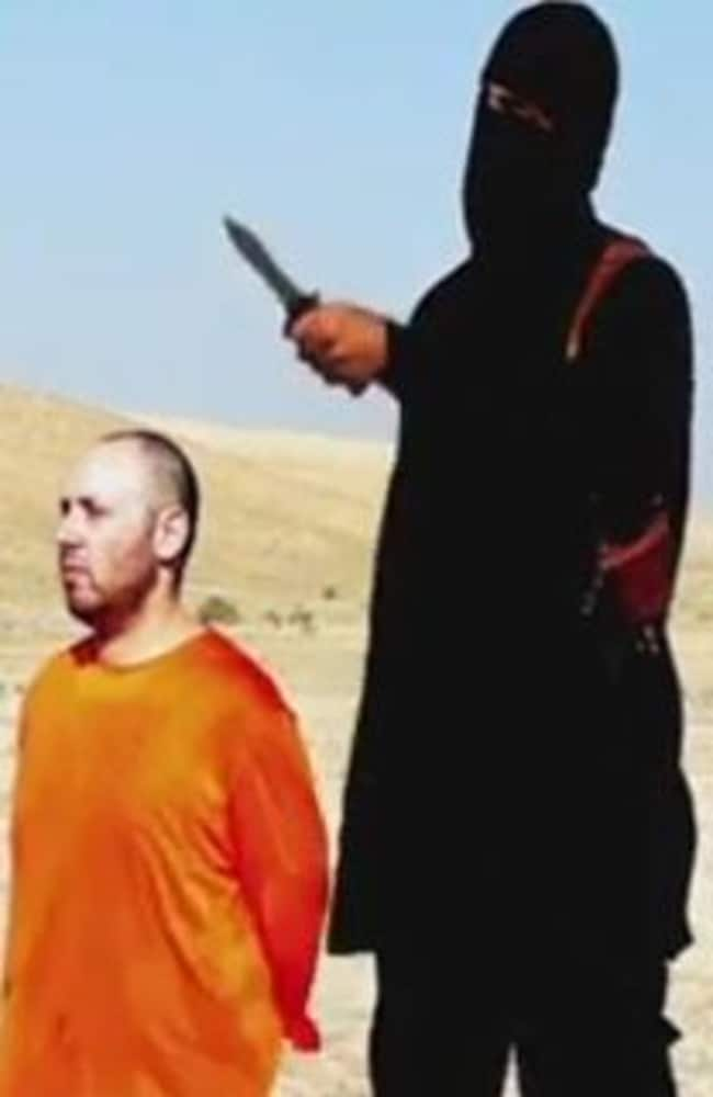 A man with a British accent, believed to be Jihardi John again, warns US President Barack Obama before killing Steven Sotloff in a video. Picture: Twitter.