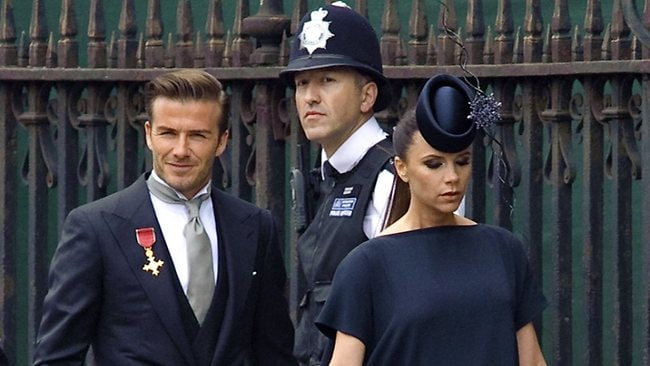 Star guests David Beckham and his wife Victoria arrive at Westminster Abbey for the wedding. Picture: AFP