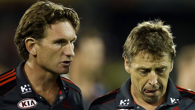 Essendon coach James Hird with assistant Mark Thompson.