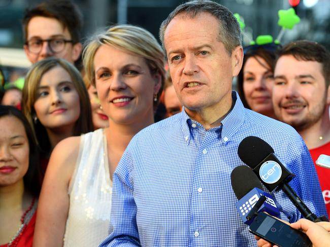 Leader of the Opposition Bill Shorten and Deputy leader Tanya Plibersek are seen speaking to media prior to taking part in the 38th annual Gay and Lesbian mardi gras parade. Picture: AAP