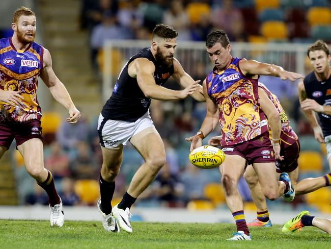 Lions midfielder Tom Rockliff was inspirational with 36 disposals. Picture: Mark Calleja