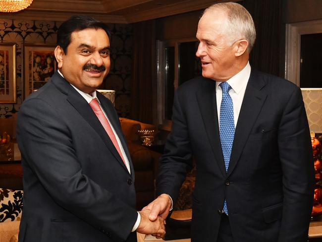 Australian Prime Minister Malcolm Turnbull meets with Gautam Adani in New Delhi in April. Picture: Mick Tsikas/AAP