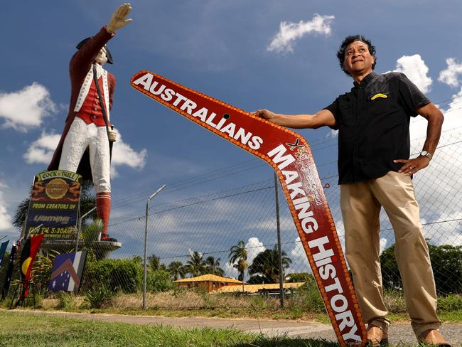 Artist Norman Miller with the boomerang he wanted to place in the hand of South Australia's controversial Big Captain Cook. Picture: Marc McCormack