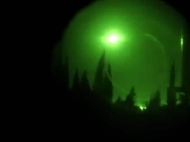 The twitter page of the Syrian government's central military media shows an explosion in the sky over Damascus seen through a night-vision device. Picture; AFP