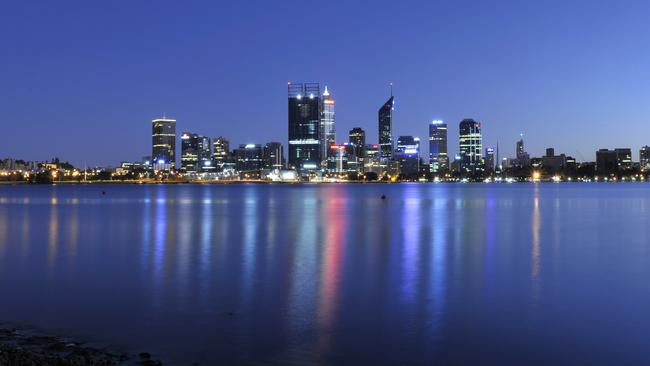 Perth at night. With battery storage systems Perth could use stored solar power at night.