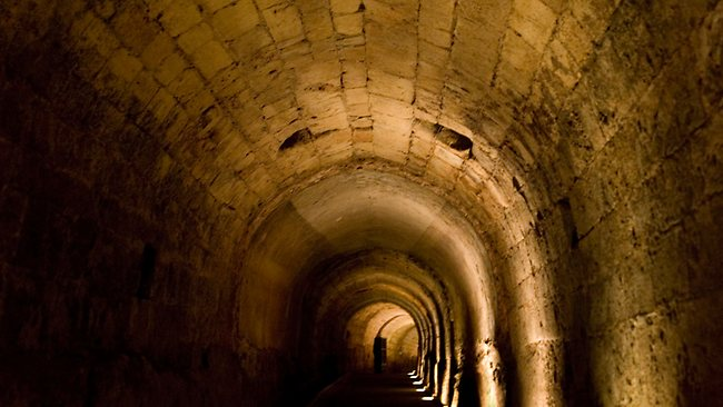 This tunnel was built by knights of the Templar order under the old port city of Acre, on the Mediterranean coast in northern Israel. Picture: AP