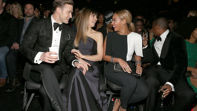 (from left) Singer Justin Timberlake, actress Jessica Biel, singer Beyonce and rapper Jay-Z.