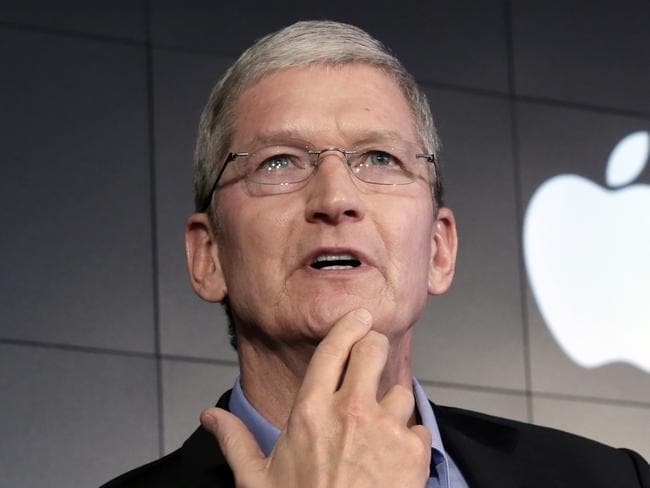 Standing strong ... Apple CEO Tim Cook has refused a federal magistrate's order to hack users in connection with the investigation of the San Bernardino, California shootings. Picture: AP Photo/Richard Drew