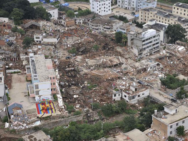 Homes crumble...This aerial photo shows buildings toppled at the quake's epicentre Longtoushan in Ludian County of Zhaotong, southwest China's Yunnan Province. Picture: AP