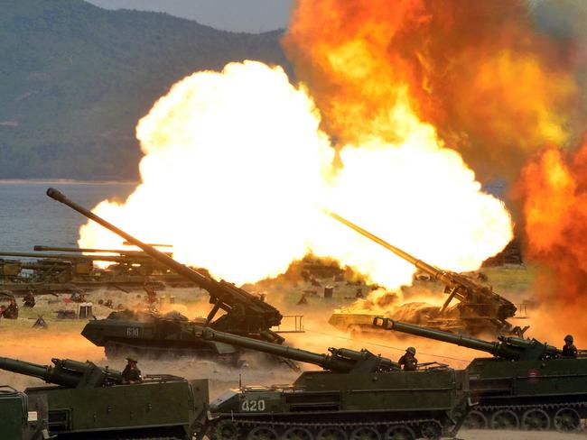 "A ""Combined Fire Demonstration"" by the North Korean army, in North Korea. Picture: AP"