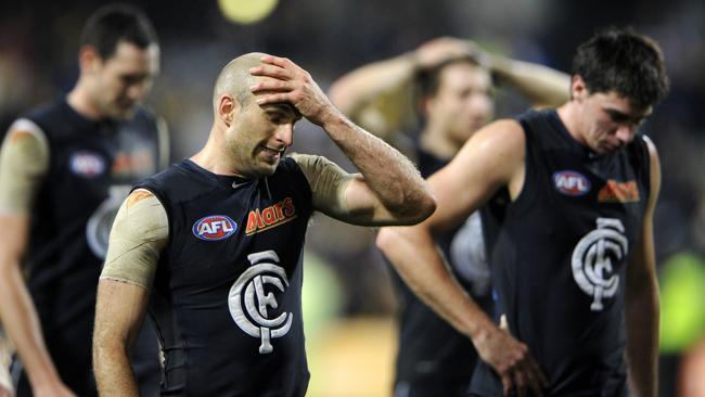 Carlton's Chris Judd can't hide his disappointment after the 10-point loss.